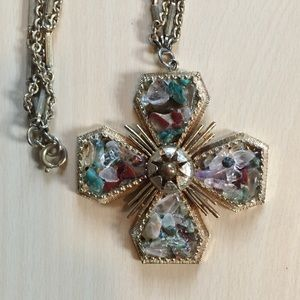 Vintage heavy multi-stone necklace